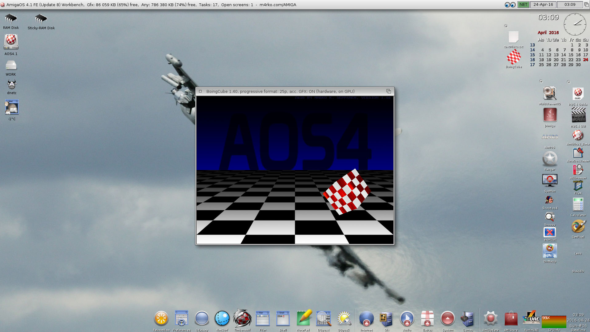 AmigaOS 4.1 FE Workbench-BoingCube-1.40